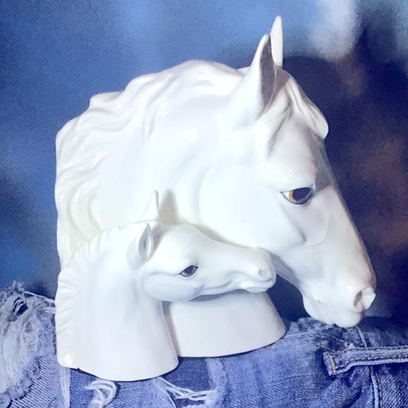 Vintage Horse Head Bookend Hidden Stash Ceramic 🐴